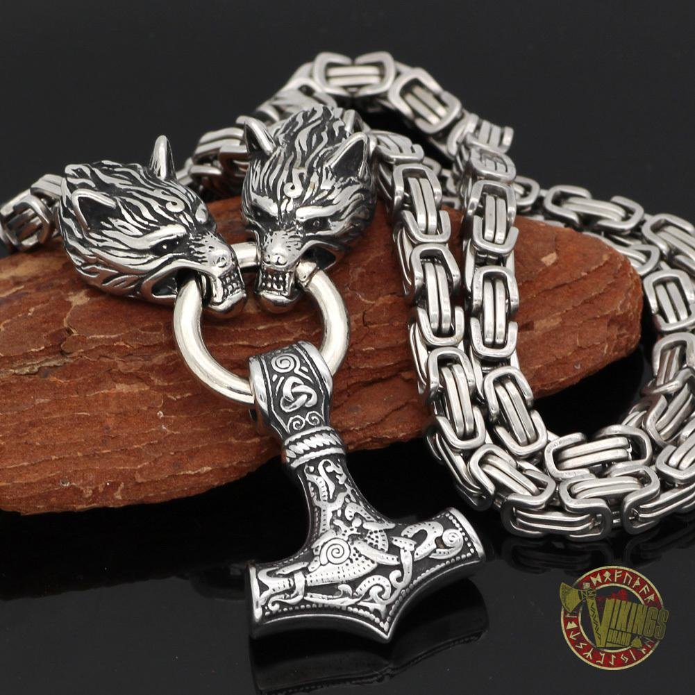HANDMADE Stainless Steel King Chain with Wolf Heads & Mjolnir - VikingsBrand