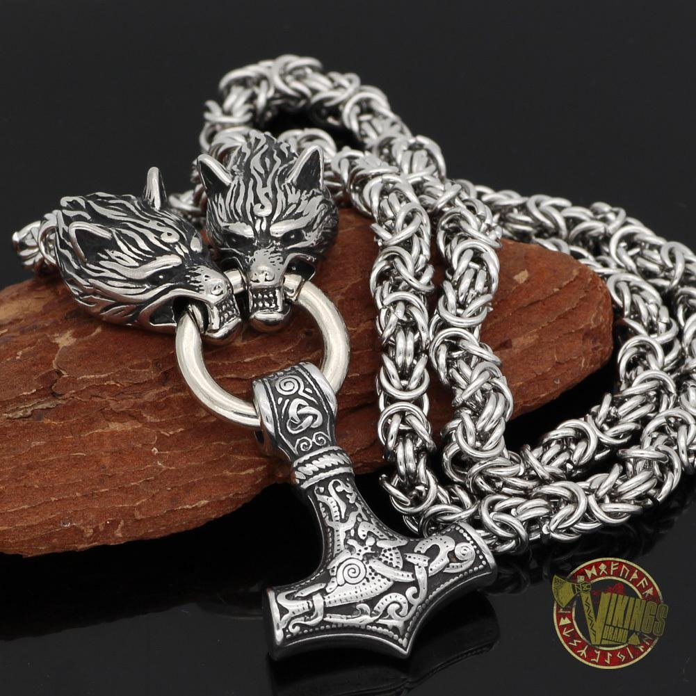 HANDMADE Stainless Steel Massive Wolf Chain with Mjolnir - VikingsBrand