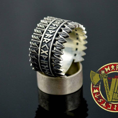 Handmade Sterling Silver Ring with Arrows & Runes - VikingsBrand