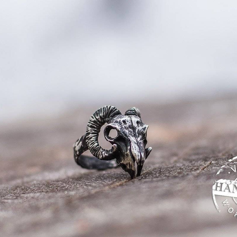HANDMADE Viking Ram Skull Ring