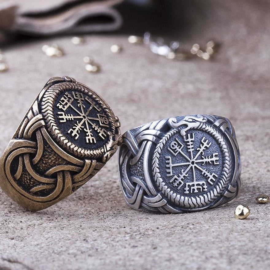 HANDMADE Viking Ring with Vegvisir and Jormungandr - VikingsBrand