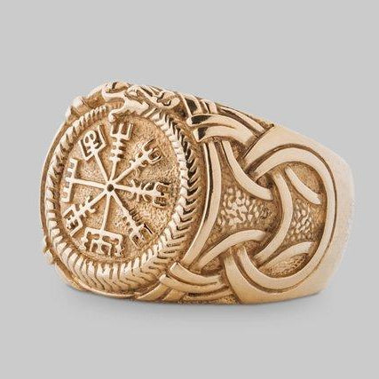 HANDMADE Viking Ring with Vegvisir and Jormungandr - Gold Plated Sterling Silver - VikingsBrand