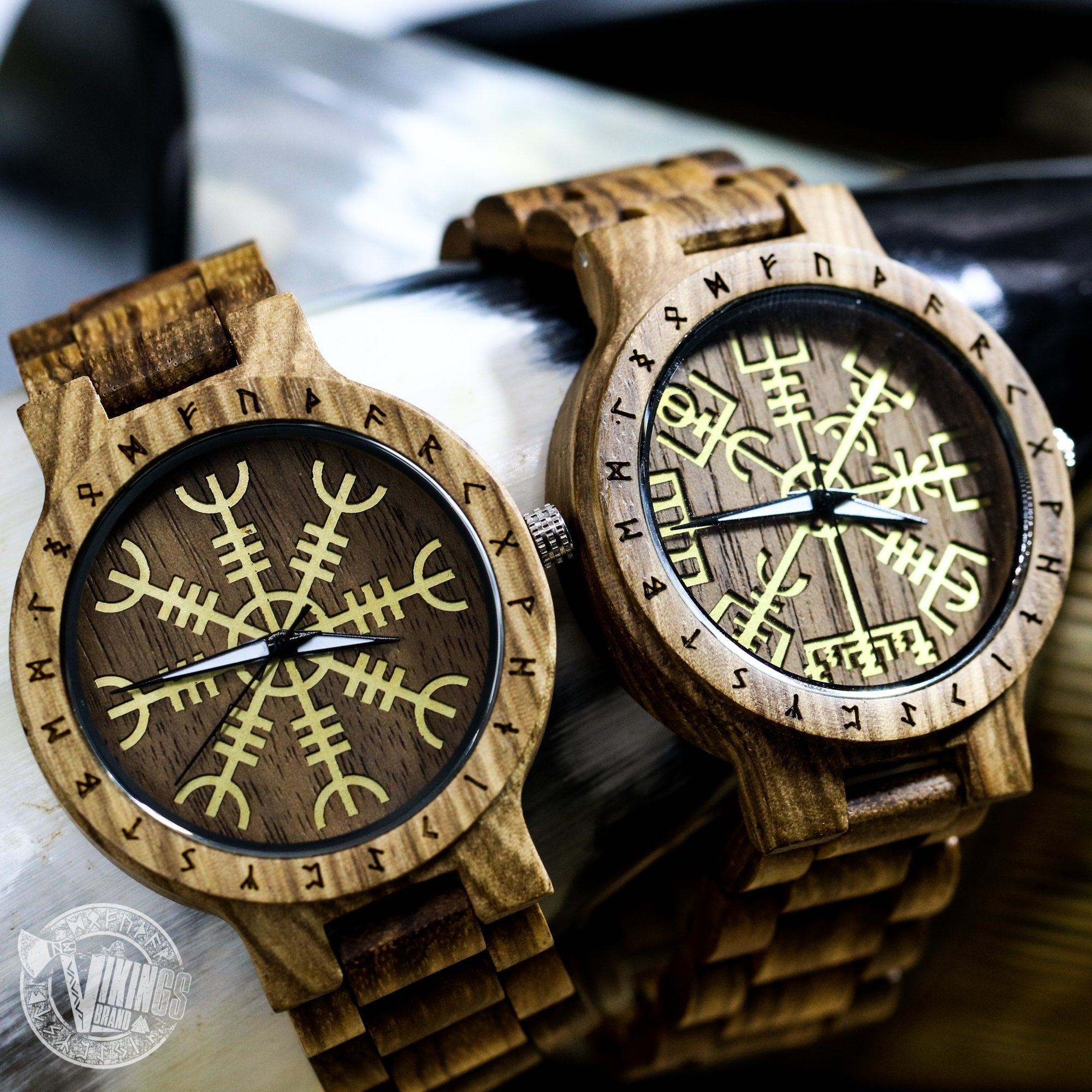 Handmade Viking Wooden Watch with Golden Helm of Awe or Vegvisir & Custom Saying on the Back Cover or Box - VikingsBrand