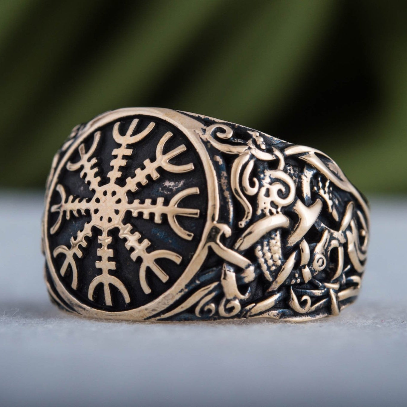 Helm of Awe Ring with Mammen Ornament Handcrafted Bronze Viking Ring
