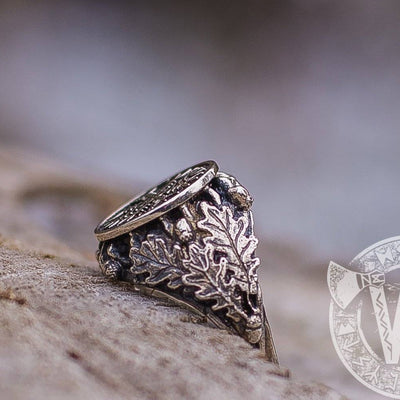 Helm of Awe Sterling Silver Ring with Oak Leaves and Acorns - VikingsBrand