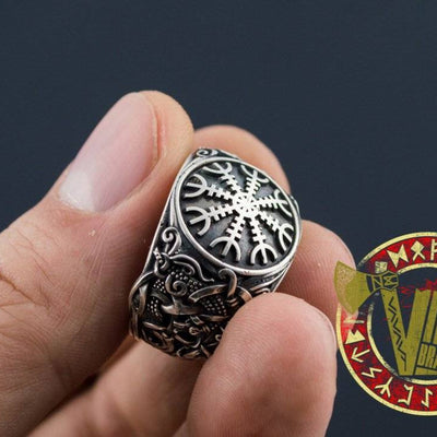 Helm of Awe Symbol with Norse Ornament Ring - VikingsBrand