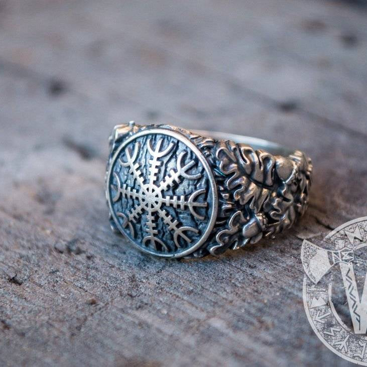 Helm of Awe with Oak Leaves and Acorns Variant 2 Sterling Silver Viking Ring
