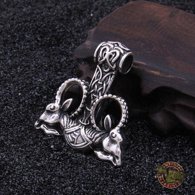 Huge 925 Sterling Silver Thor's Hammer with Goat Heads - VikingsBrand
