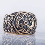Huginn and Muninn Bronze Viking Ring with Mammen Ornament