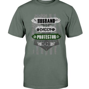 Husband - Daddy - Protector - Hero Premium T-Shirt - Leaf Green