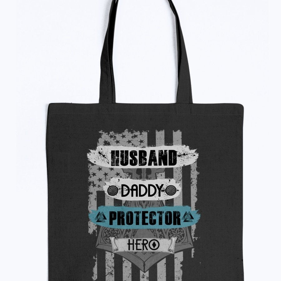 Husband - Daddy - Protector - Hero Tote - Light Blue USA