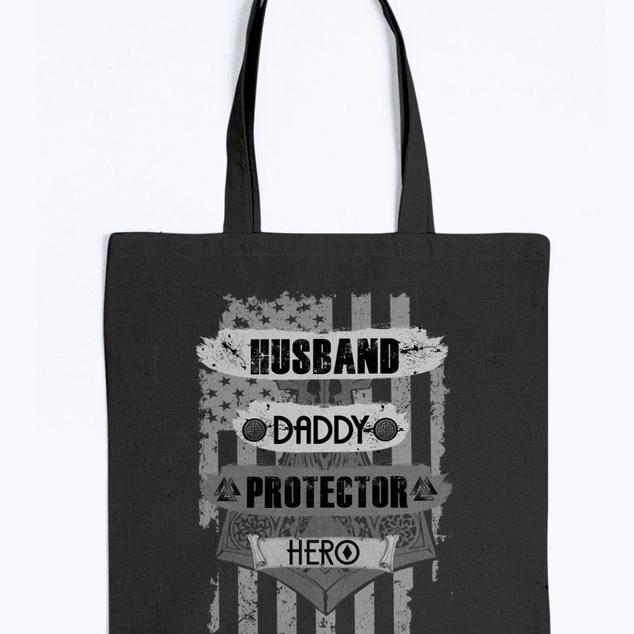 Husband - Daddy - Protector - Hero Tote - Grey Camo