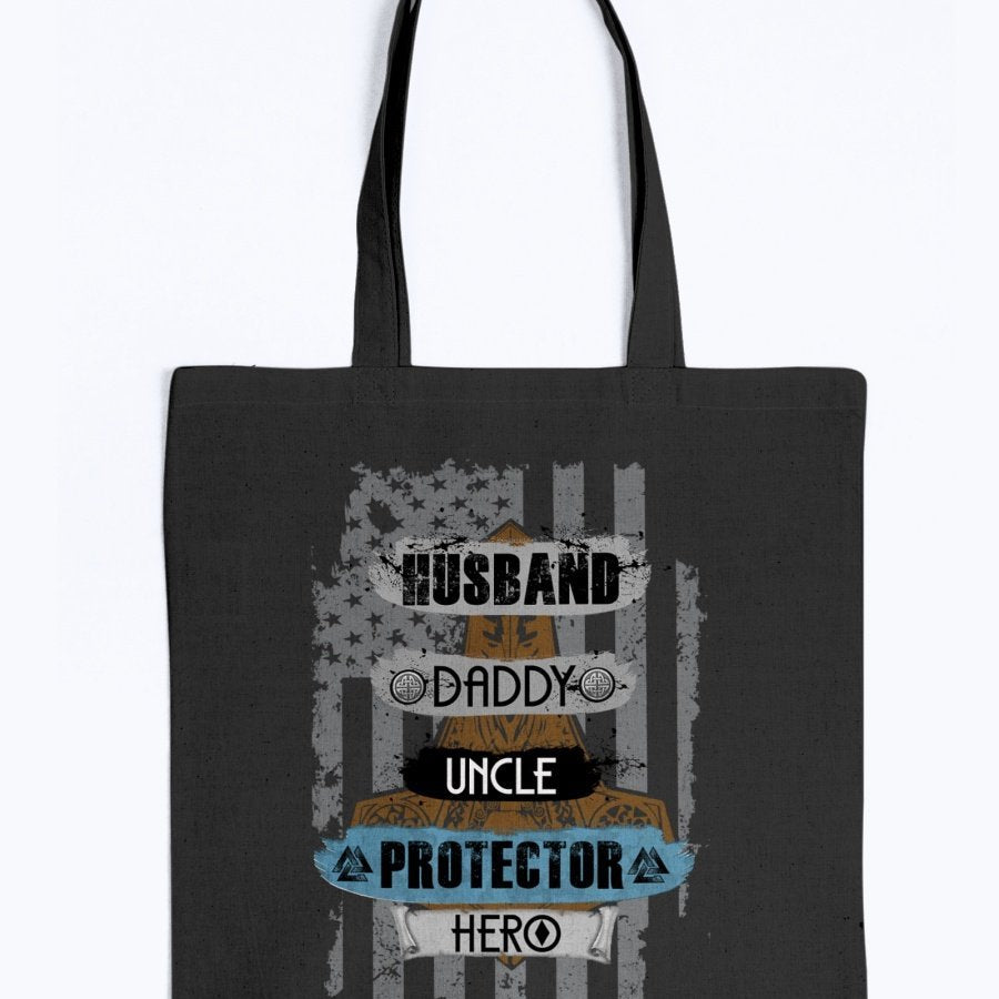 Husband - Daddy - Protector - Hero Tote - Brown / Blue USA
