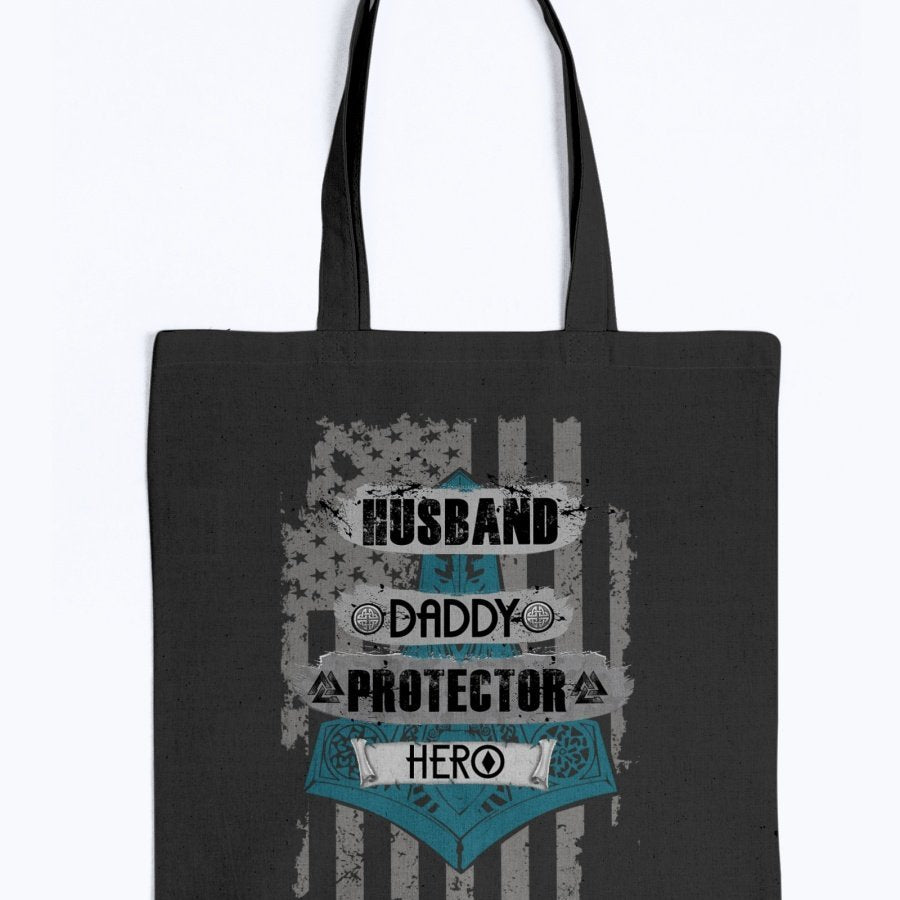 Husband - Daddy - Protector - Hero Tote - Blue / Grey USA