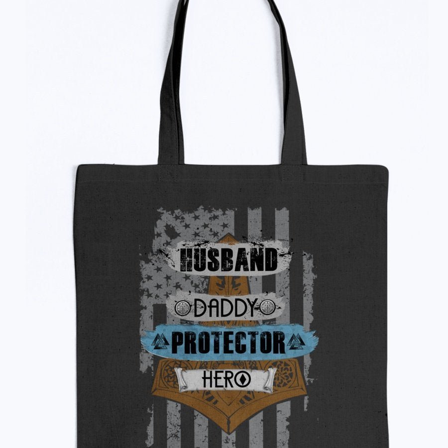Husband - Daddy - Protector - Hero Tote -Blue / Brown USA