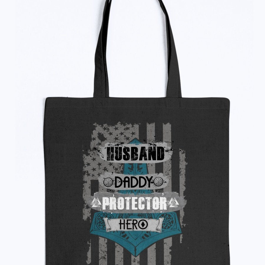 Husband - Daddy - Protector - Hero Tote - Black / Blue USA