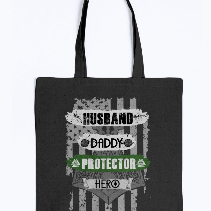 Husband - Daddy - Protector - Hero Tote - Dark Green USA