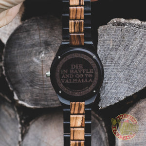 Ivar Viking Wooden Watch with Helm of Awe Viking Symbol & Engraved Die in Battle & Go To Valhalla Saying - VikingsBrand back1