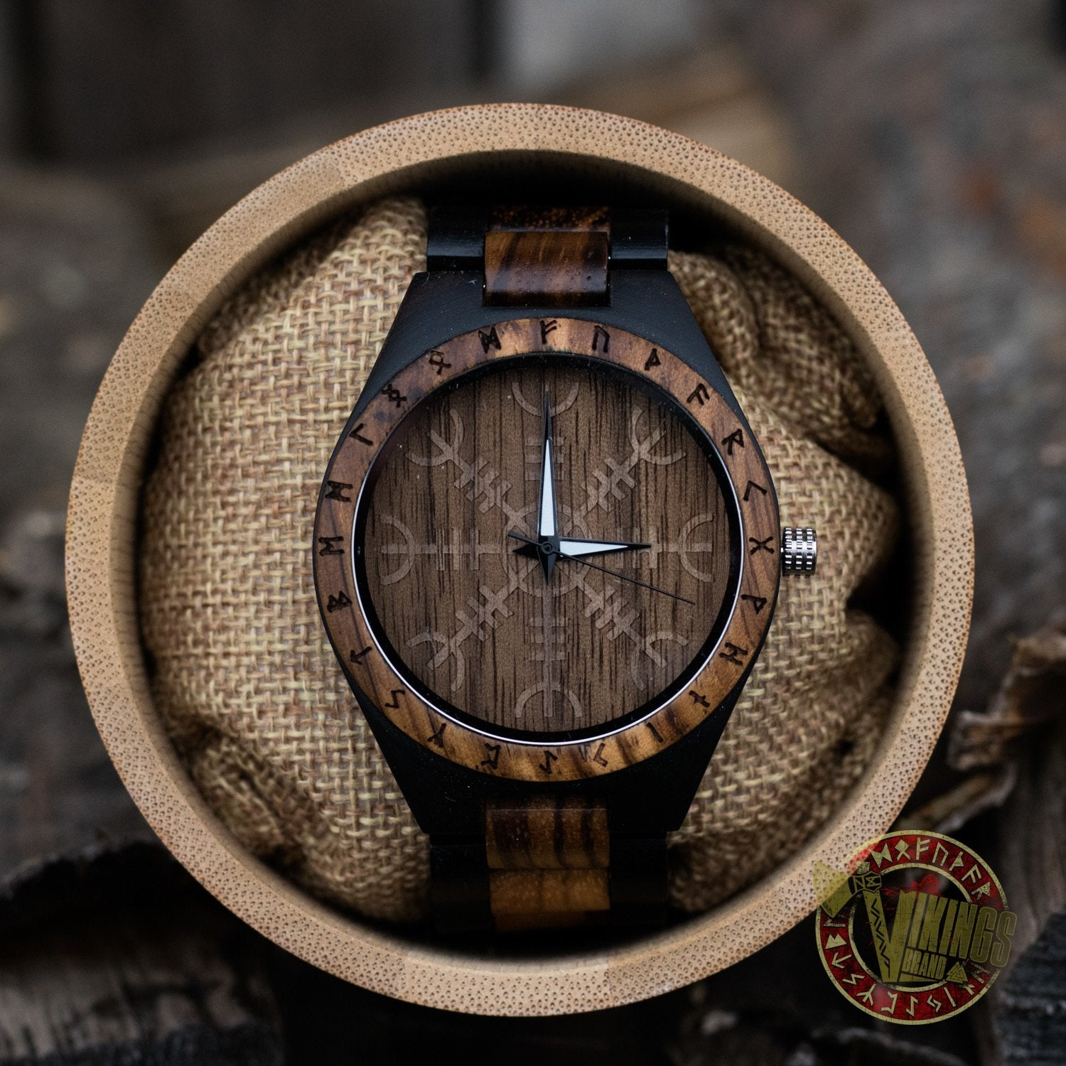 Handmade Ivar Wooden Viking Watch with Helm of Awe and Runic Circle, Unisex, Includes Customizable Engraved Quote or Name front