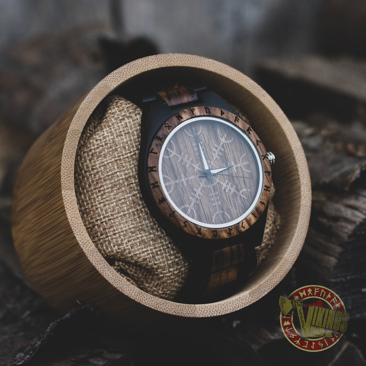 Ivar Viking Wooden Watch with Helm of Awe Viking Symbol & Engraved Die in Battle & Go To Valhalla Saying - VikingsBrand
