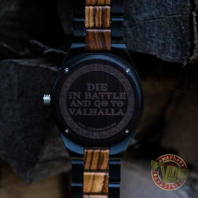 Ivar Viking Wooden Watch with Helm of Awe Viking Symbol & Engraved Die in Battle & Go To Valhalla Saying - VikingsBrand back