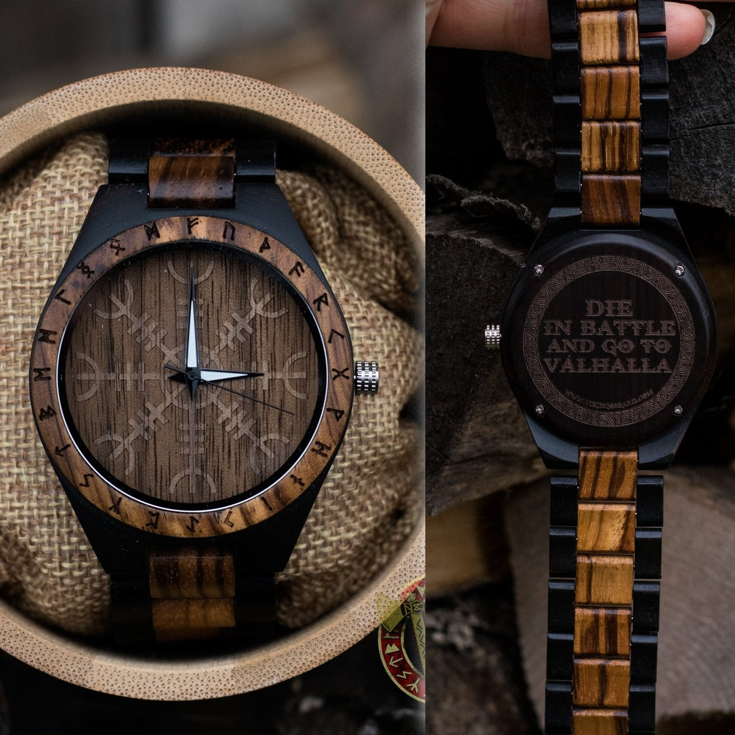 Handmade Ivar Wooden Viking Watch with Helm of Awe and Runic Circle, Unisex, Includes Customizable Engraved Quote or Name front and back