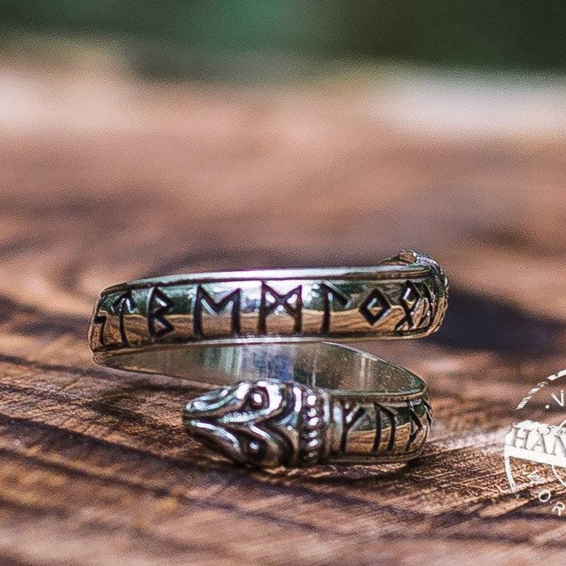 Jormungand Ring with Elder Futhark Runes