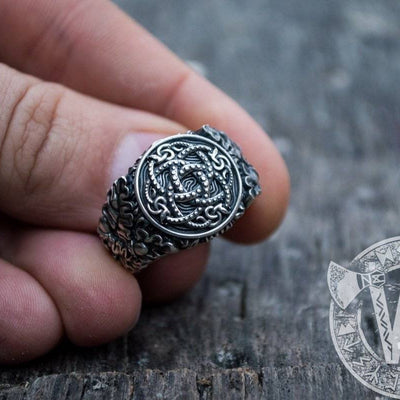 Jormungandr Symbol with Oak Leaves and Acorns Sterling Silver Viking Ring - VikingsBrand