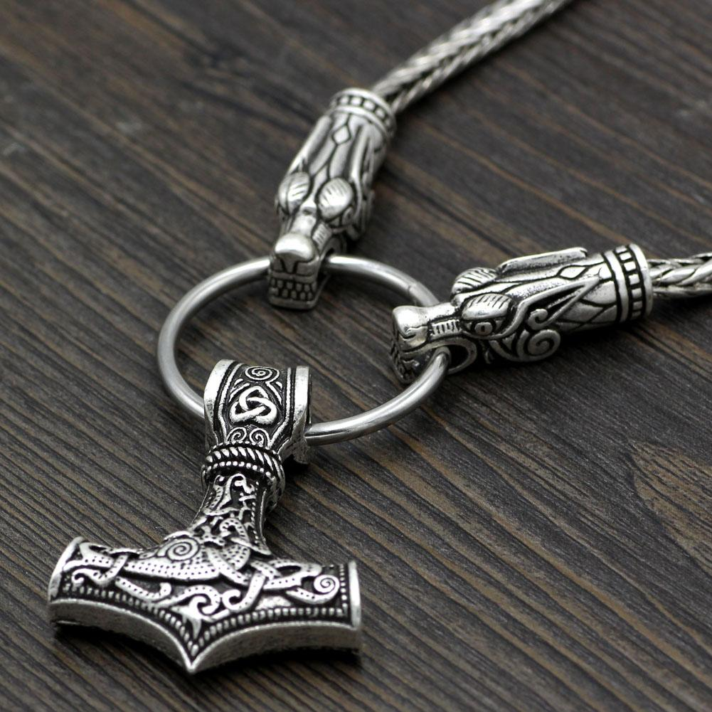 King's Chain Necklace with Wolf Head Beads and Thor's Hammer Pendant