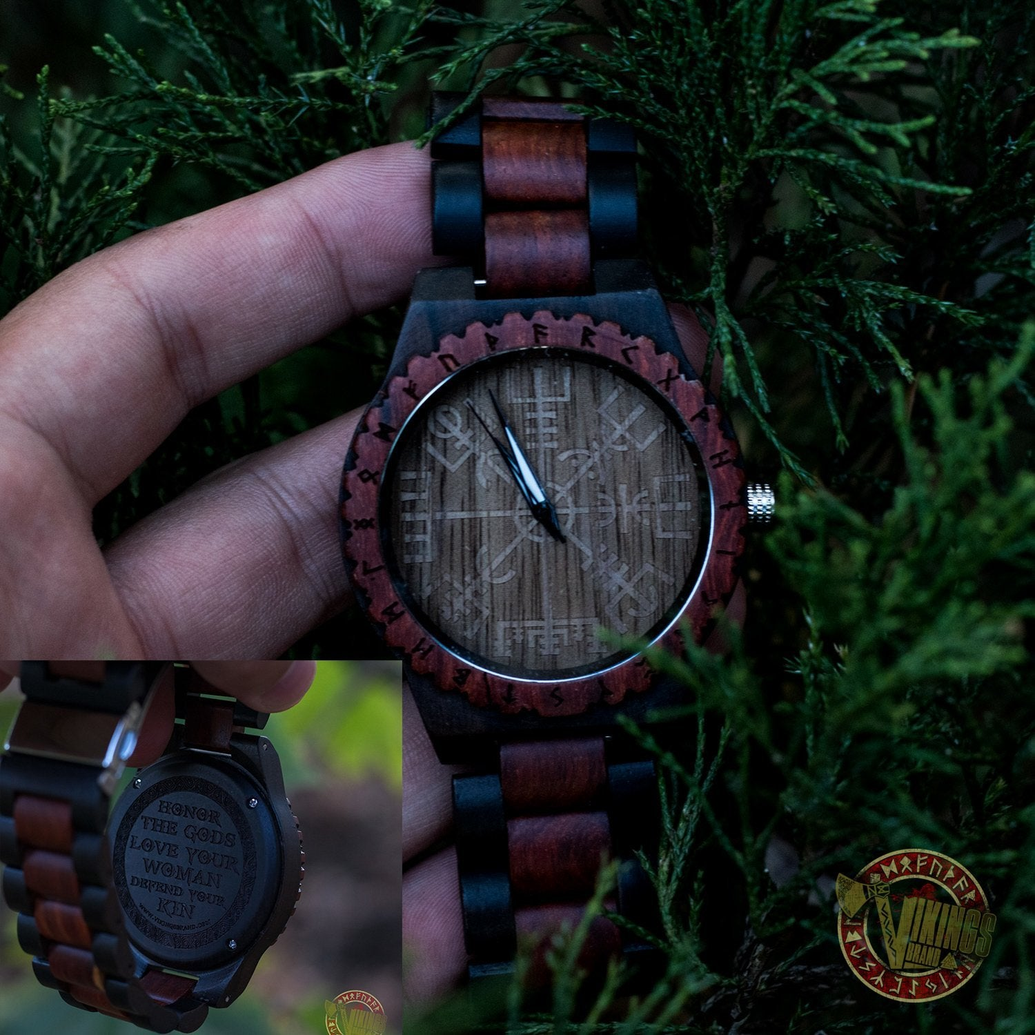 Knut Viking Wooden Watch with Vegvisir Viking Symbol & Engraved Honor the Gods, Love Your Woman, Defend Your Kin Saying - VikingsBrand