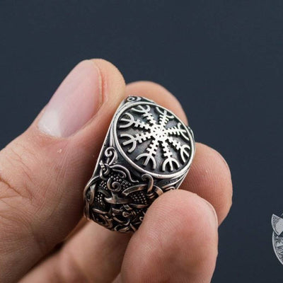 Mammen Style Helm of Awe Sterling Silver Viking Ring - VikingsBrand