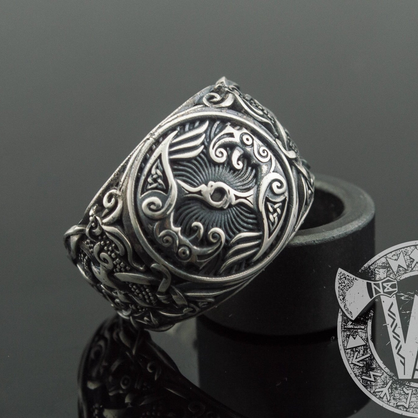 Mammen Style Raven Sterling Silver Viking Ring