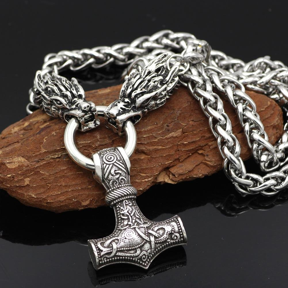 Massive Stainless Steel Viking Necklace with Huge Thor's Hammer - VikingsBrand