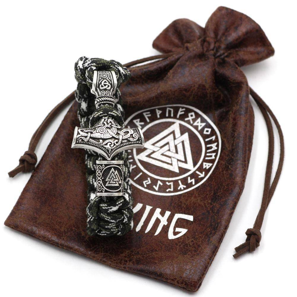 Military Paracord Bracelet with Thor's Hammer - Valknut and Vegvisir - VikingsBrand