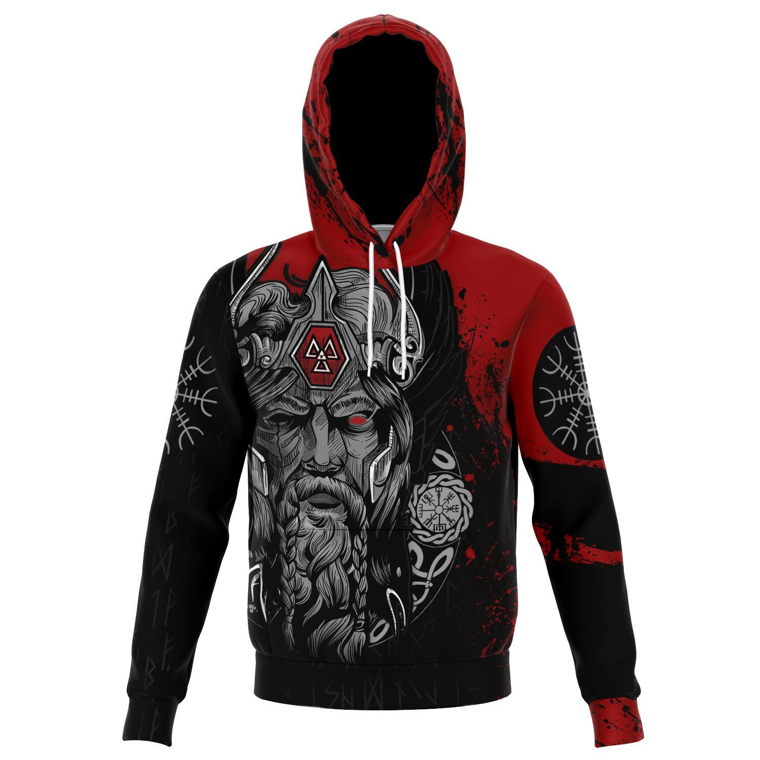 Norse God Odin Red Unisex Viking Hoodie