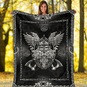 Norse God Odin with Ravens Fleece Blanket - Black - VikingsBrand