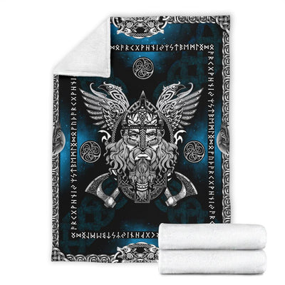 Norse God Odin with Ravens Fleece Blanket - Blue - VikingsBrand