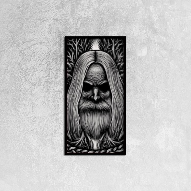 Odin - Canvas Print Framed Ready to Hang, 12ⅹ24 inch - VikingsBrand