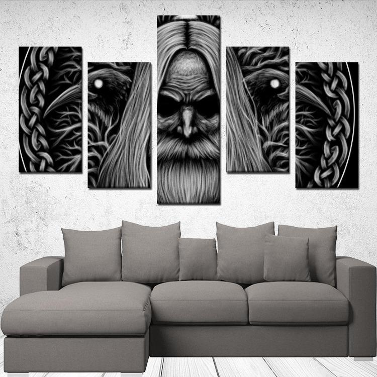 Odin with Huginn & Munnin - 5 Panels Canvas Wall Art - VikingsBrand