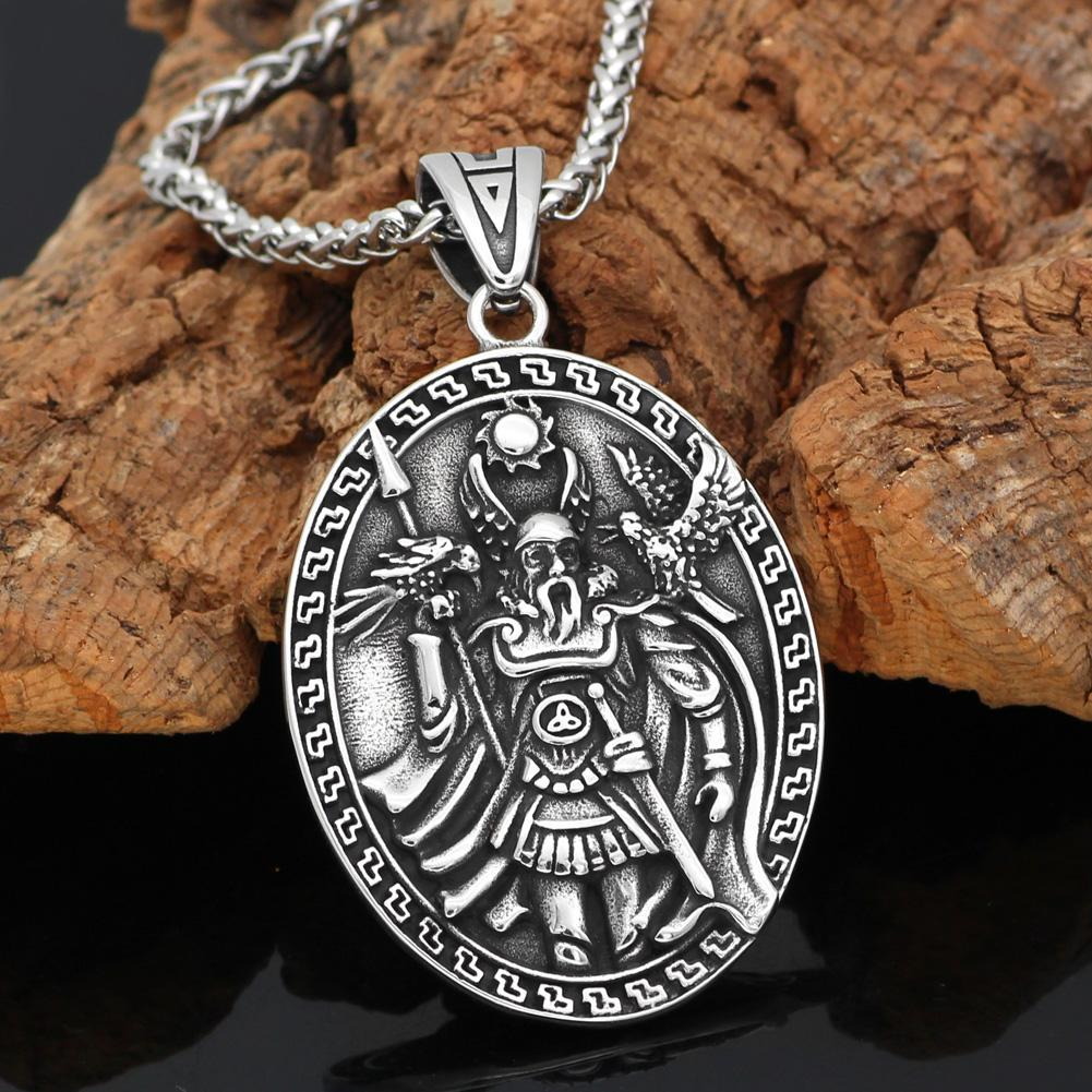 Odin with Huginn & Munnin and Geri & Freki Viking Pendant Necklace - VikingsBrand