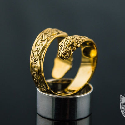 Ouroboros Ornamental 14K Gold  Viking Ring - VikingsBrand