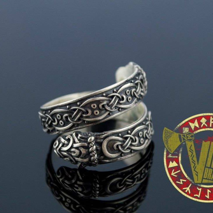 Ouroboros Ring with Norse Ornament