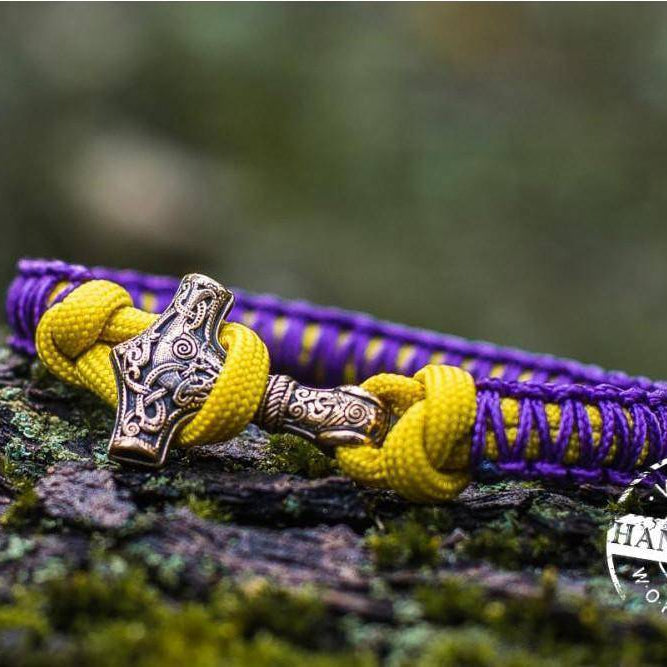 Paracord Bracelet with Bronze Mjolnir (Purple+Yellow)