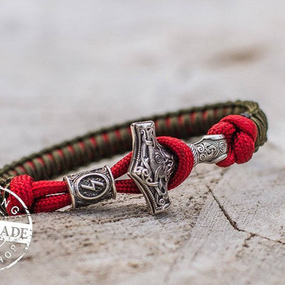 Paracord Bracelet with Silver Plated Mjolnir and Elder Futhark Rune - VikingsBrand