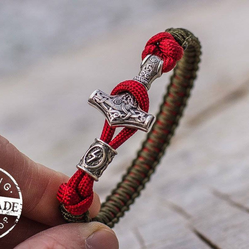 Paracord Bracelet with Silver Plated Mjolnir and Elder Futhark Rune
