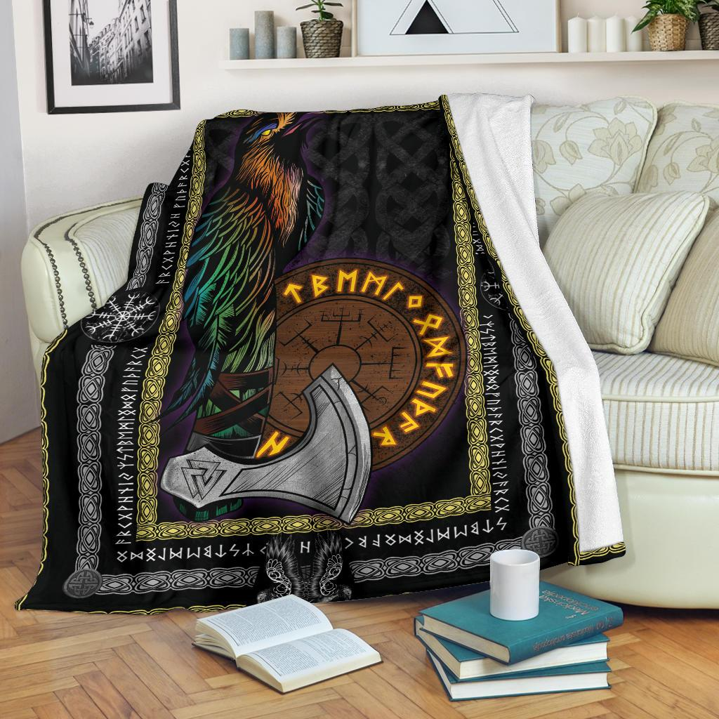 Raven Axe Fleece Blanket - VikingsBrand