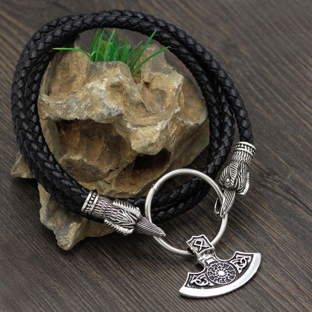 Raven Head Genuine Leather Necklace with Axe Pendant - VikingsBrand