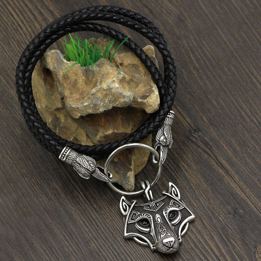 Raven Head Genuine Leather Necklace with Wolf Head Pendant - VikingsBrand