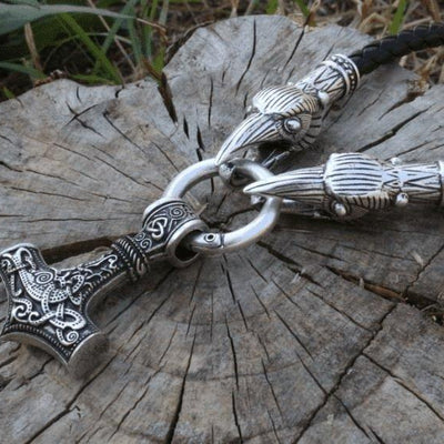 Raven Head Necklace with Mjolnir - VikingsBrand