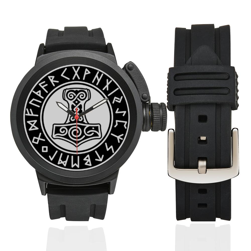 Rugged Viking Watch with Mjolnir and Runic Circle - VikingsBrand